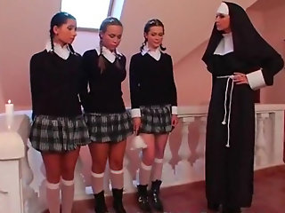 three schoolgirls nun