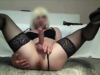 crossdresser slut sandy fucks huge toy